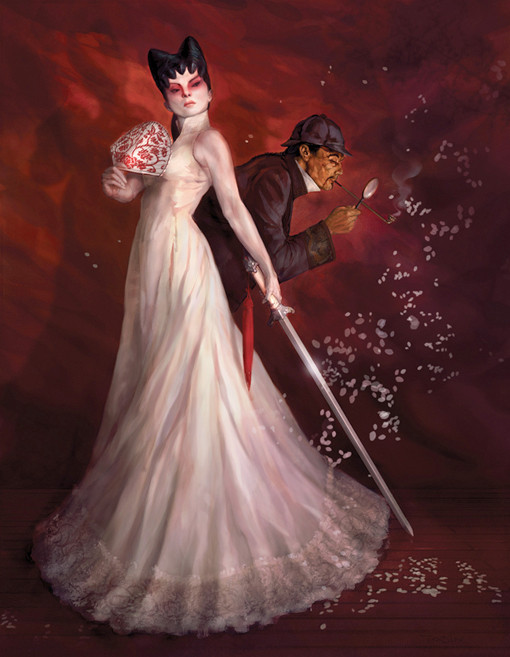 Sherlock Holmes and the White Fox Woman. Image © 2010 Coilhouse Magazine and Paul Tobin.