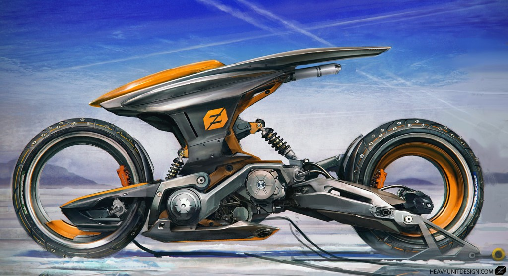 A concept image for a futuristic pilot-less bike.