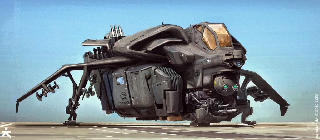 Concept art of a drop ship for Guerilla Games' Killzone Shadow Fall.