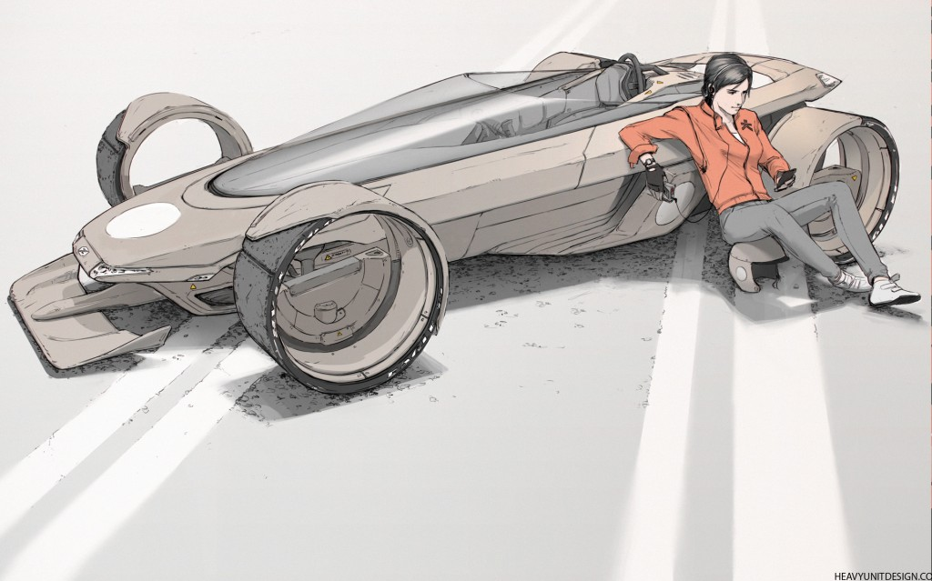 """A personal piece: an """"80s-influenced car concept"""", experimenting with adding a character to the image."""