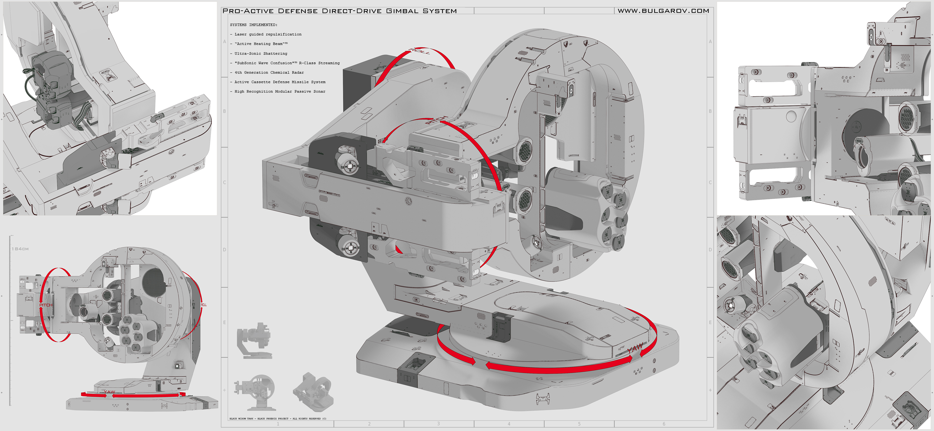 Concept art of a gimbal defense system: another work from the Black Phoenix universe.