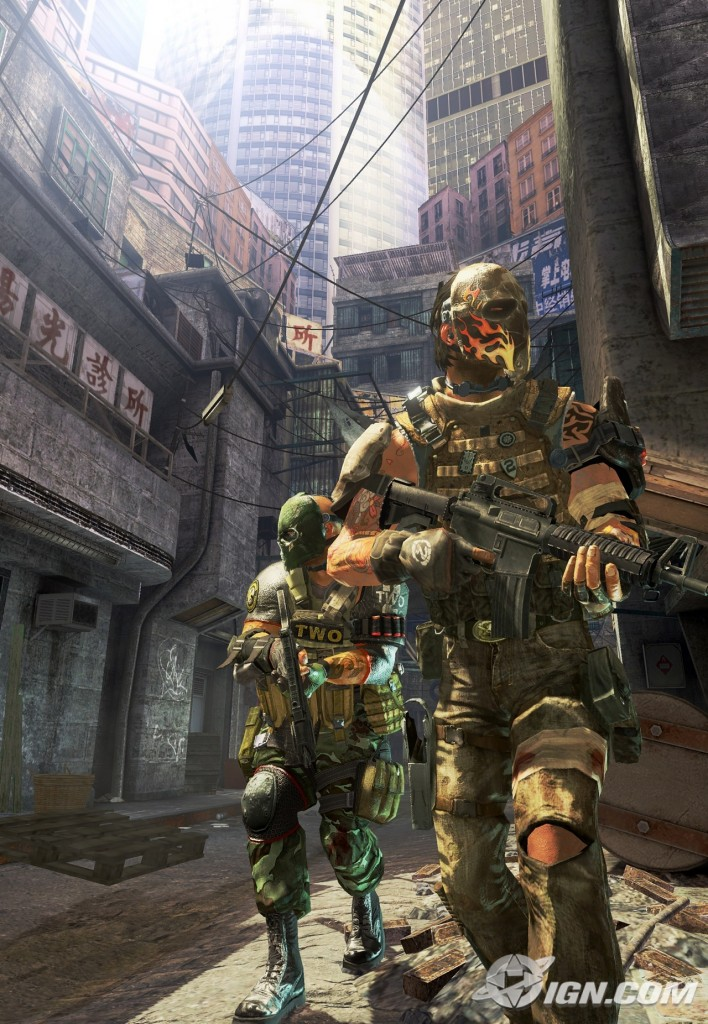 A marketing image for EA Montreal's third-person shooter Army of Two.