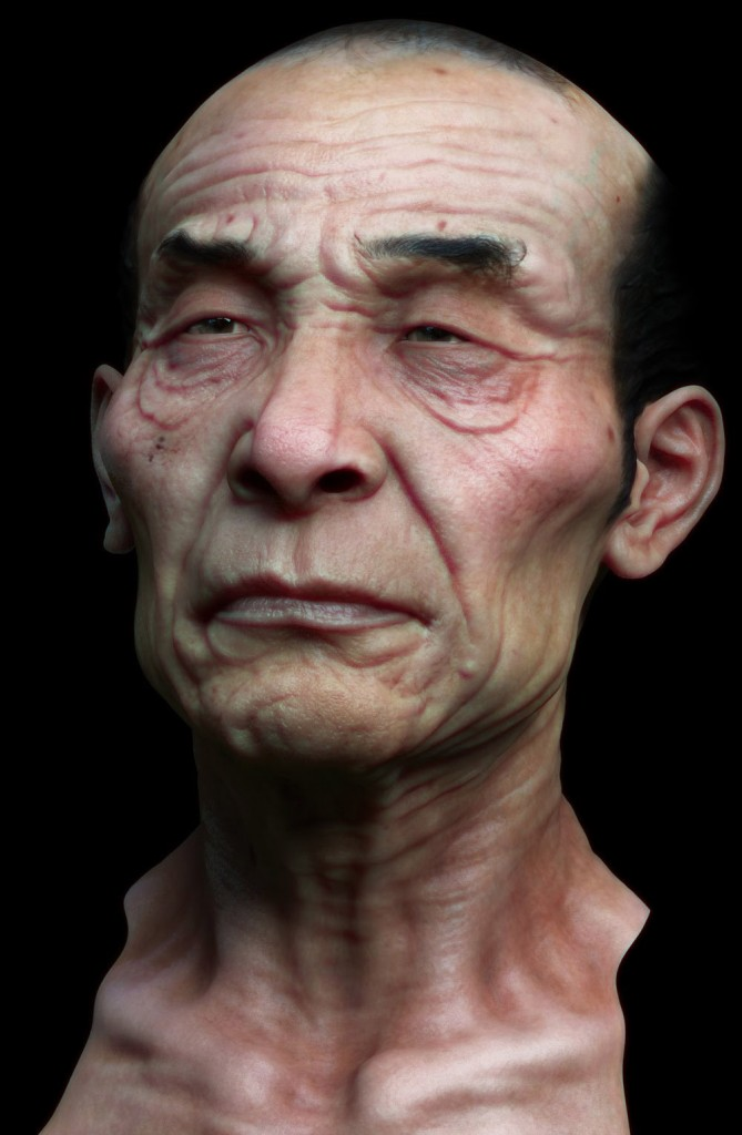 A test render of a head in V-Ray.