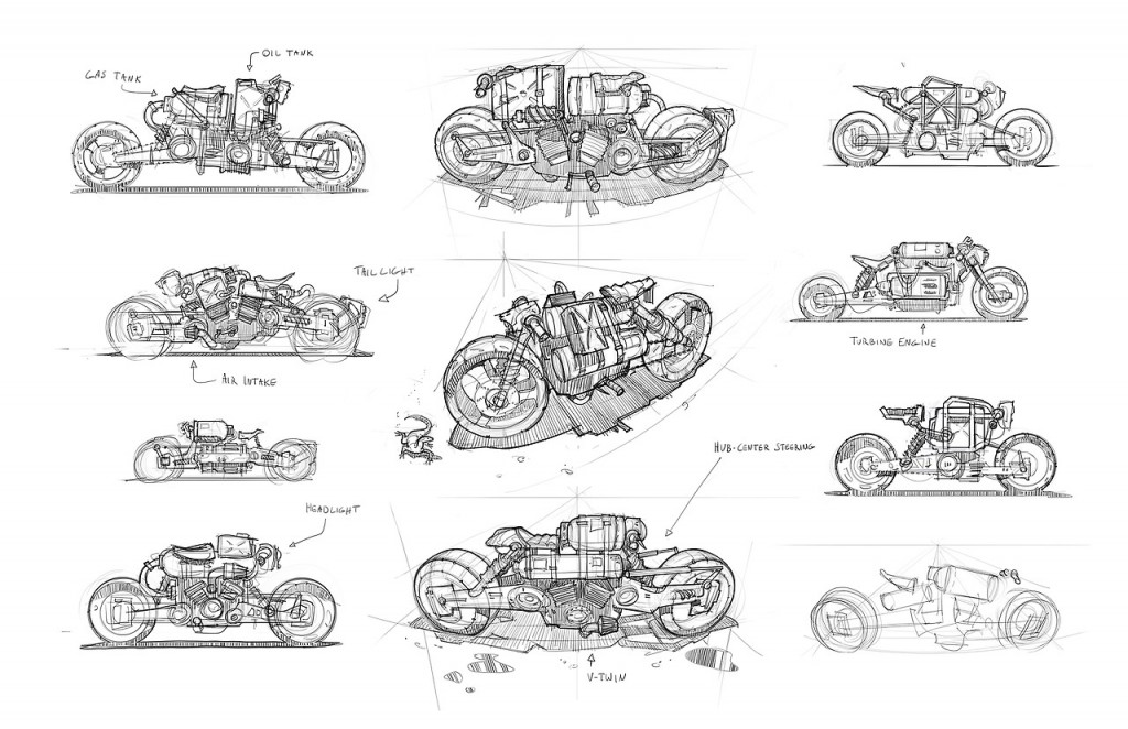 Sketches for Funky Junk Yard Bike: personal art work.