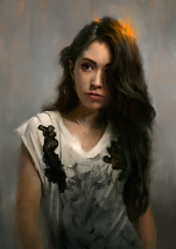 Agatha: a personal art work. A portrait of Wojtek's girlfriend, painted for her birthday.