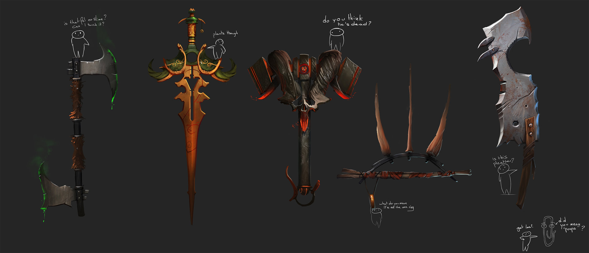 Fantasy weapons: a personal art work. Look for a cameo from the Microsoft Office paperclip.