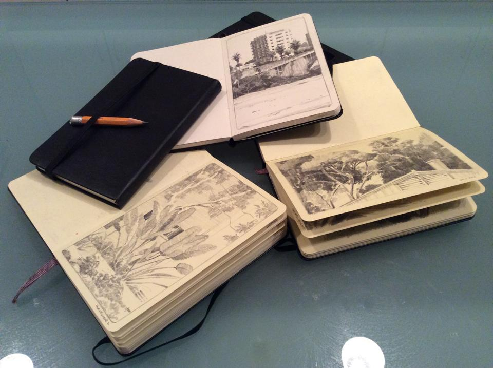 "Some of John's sketchbooks: due for publication as an art book in ""two or three sketchbooks' time""."