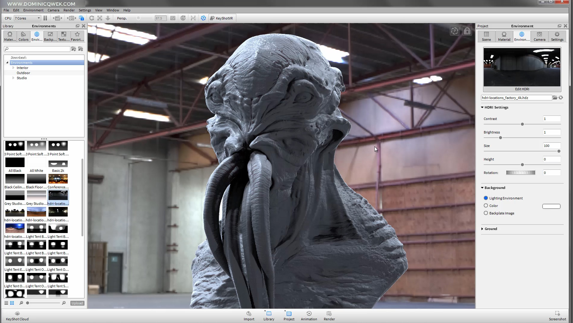 A still from Dominic's Cthulhu rendering tutorial.