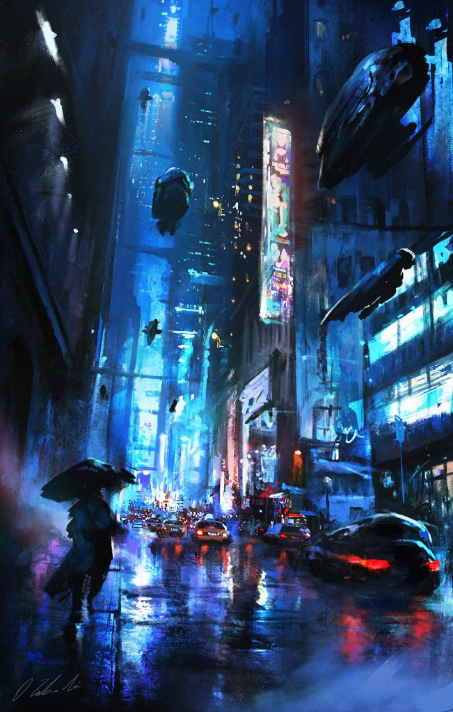 Walking On The Street: a personal art work. An image from Darek's 'Night Life' series.