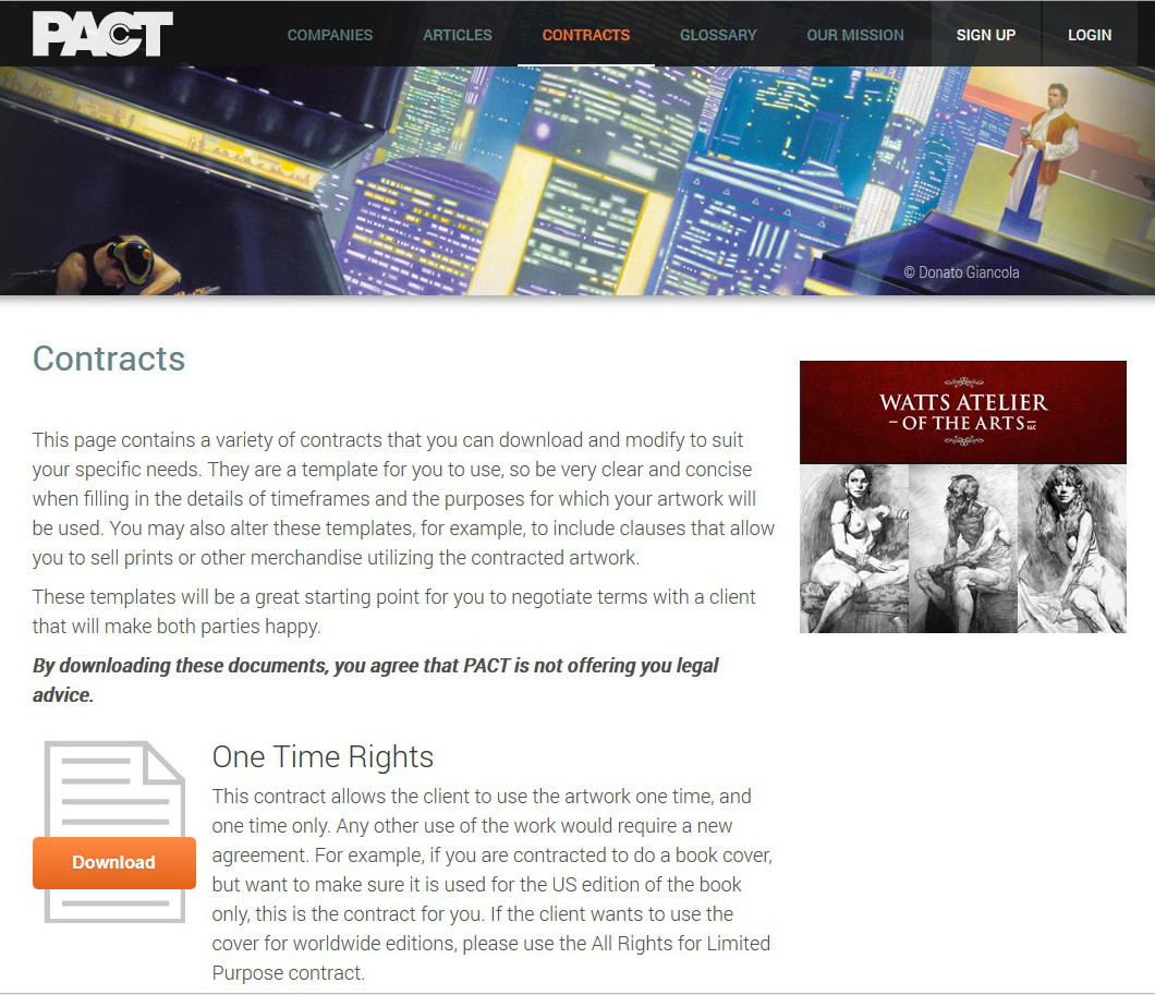 pact offers a range of standard contract templates free to any freelance artist