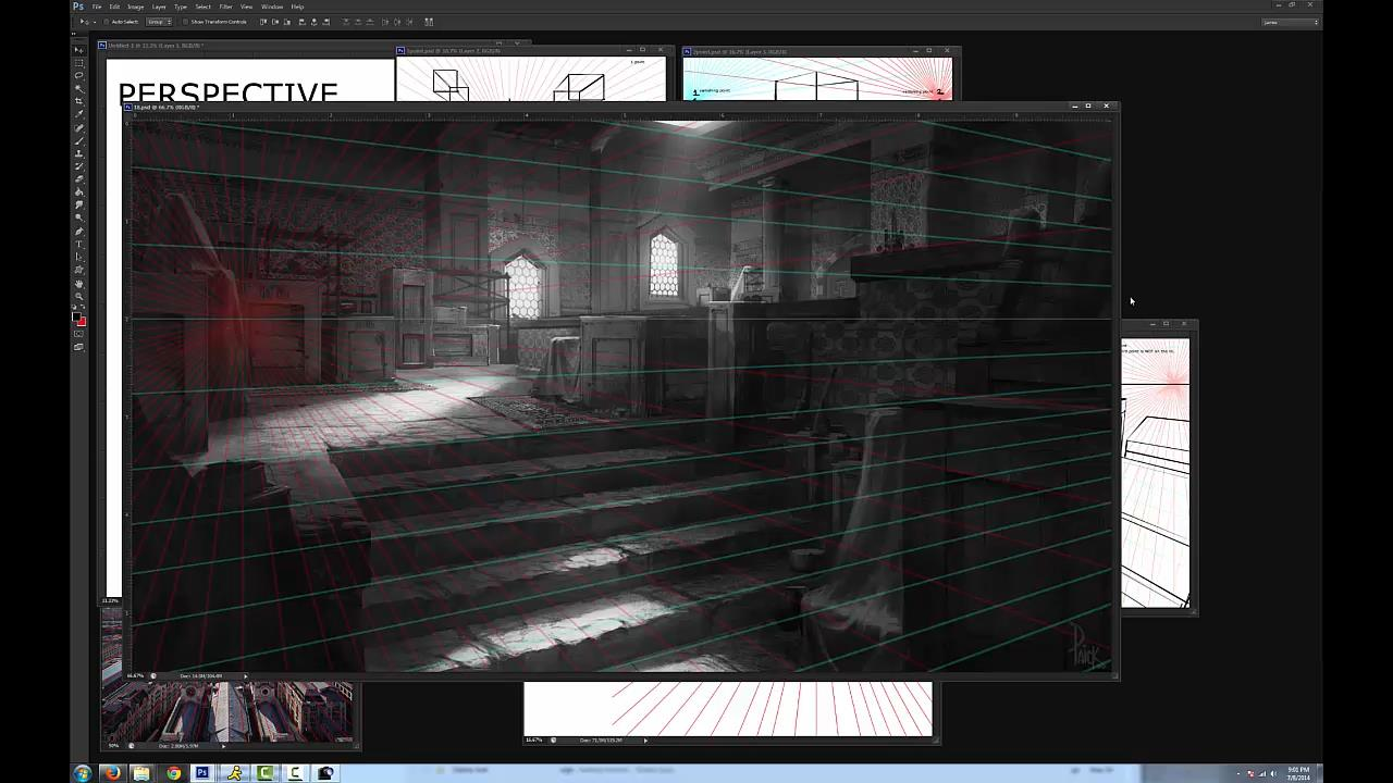 A screenshot from Environment Design Basics 2: Perspective and Basic Layout.
