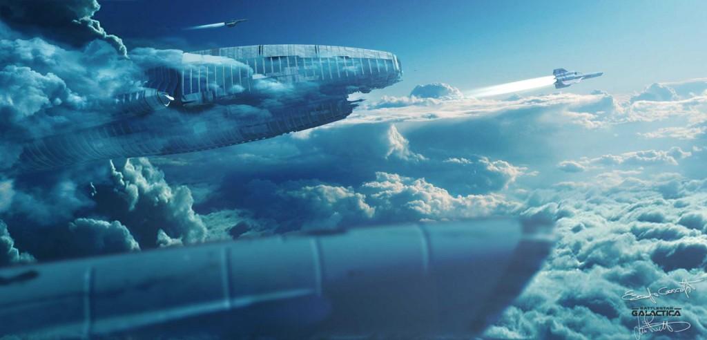 Mass Ascending: concept art for Battlestar Galactica.