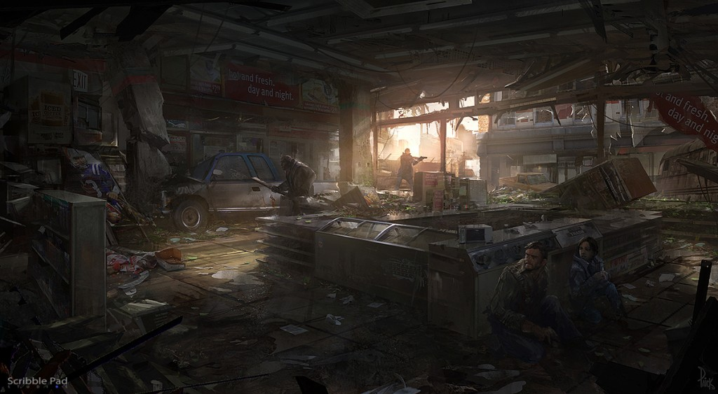Art work by Scribble Pad Studios. Concept art for Naughty Dog's The Last of Us.