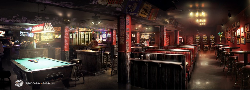 Concept art of a dive bar for Jason Statham crime thriller Wild Card. See more Wild Card concept art on Gadget-Bot's site.