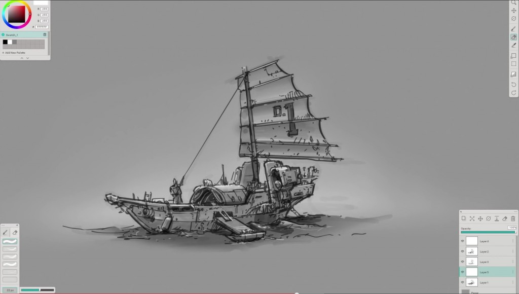 North Front Studio founder Ryan Dening sketching in Mischief as part of a video tutorial recorded for ArtStation.