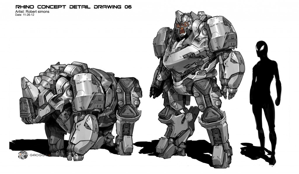 Concept art for Rhino in the The Amazing Spider-Man 2.