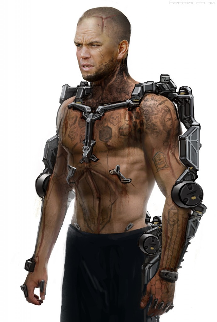 Concept art of Matt Damon's exosuit from Elysium.