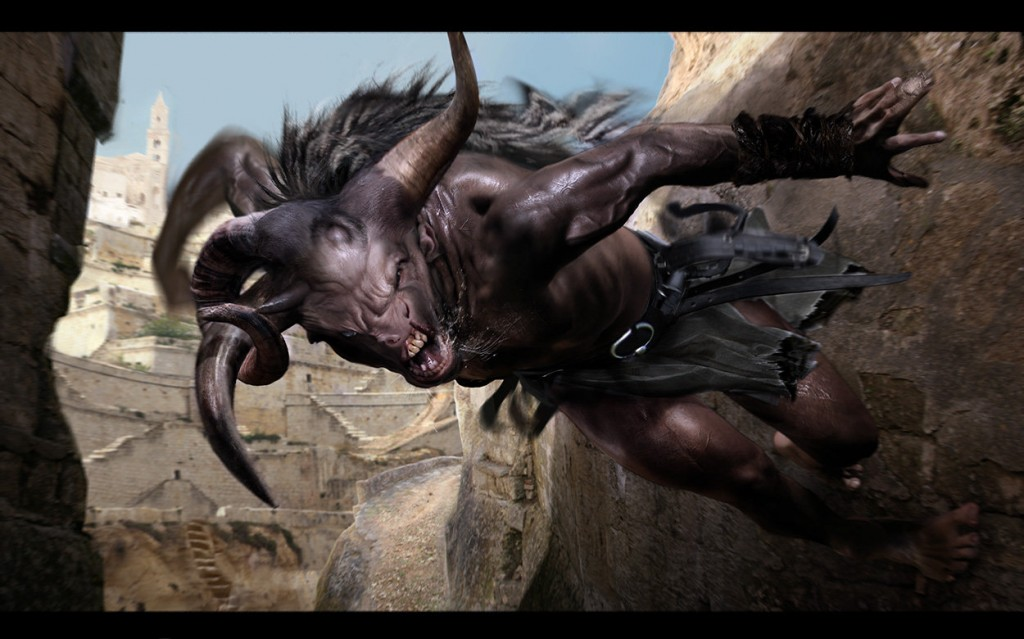 Concept work for the minotaur from Wrath of the Titans.