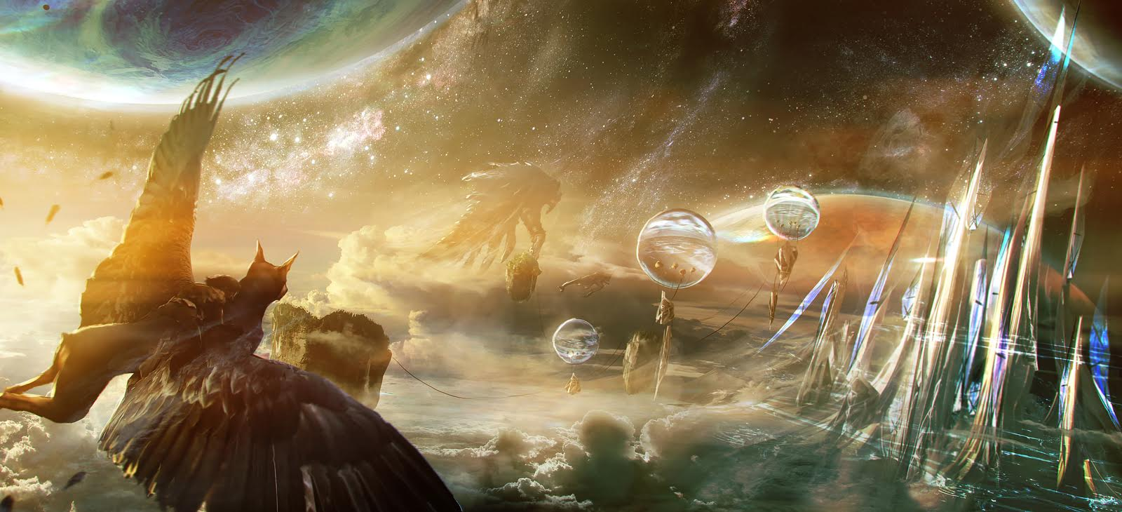 Concept art of Sebastian's dream world: not accessible by rocket, contrary to some potential investors' beliefs.