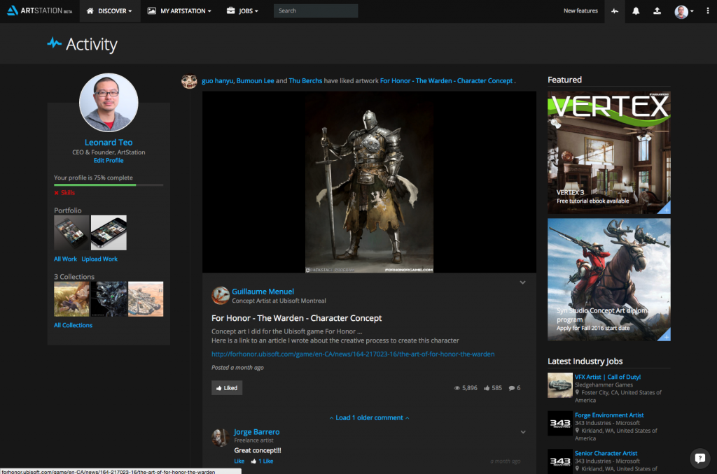 Discover new work and artists with the new Activity Feed.