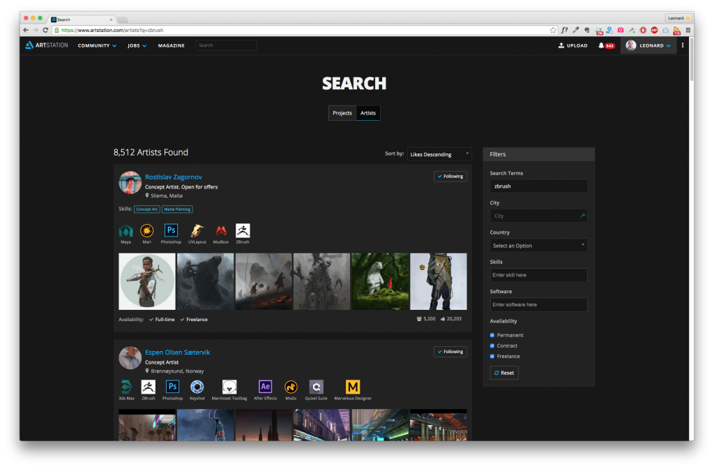 The artist search feature, previously only intended for recruiters, is now available for free to all users.
