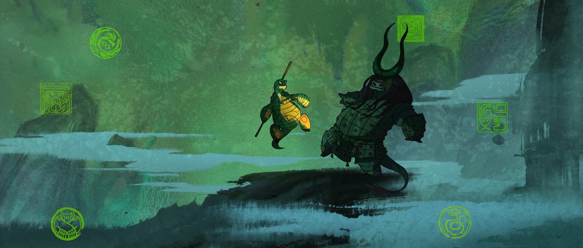 Oogway vs Kai: concept art for Kung Fu Panda 3 by Raymond Zibach.