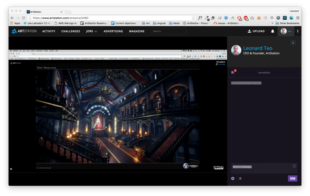 You can view streams on ArtStation and chat with the streamer.