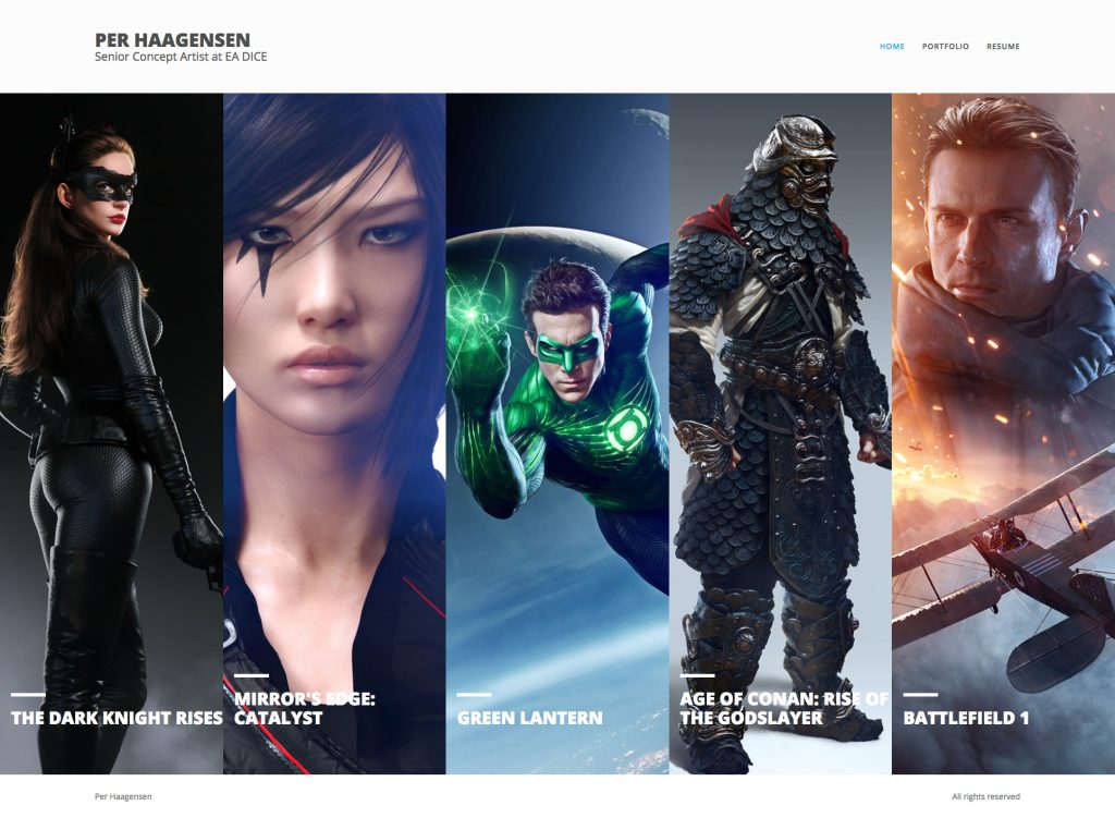 The Vertical theme was designed specifically for artists to present work with vertical aspect ratios - such as character work, novel covers, etc.