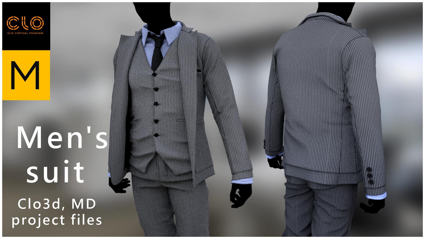 Artstation Men S Suit Marvelous Designer Clo3d Project Files Game Assets