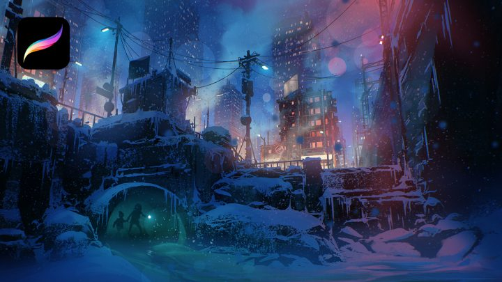 A winter city is dimly lit by a colourful blue and pink sky