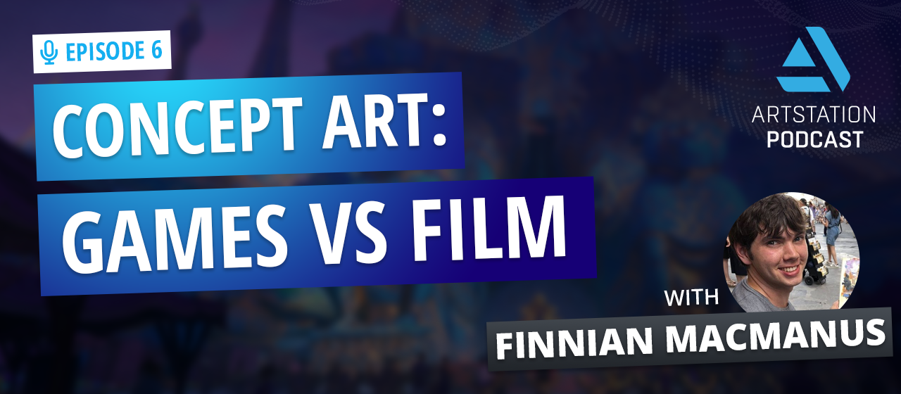 Title card reading CONCEPT ART: GAMES VS FILM with picture of Finnian MacManus