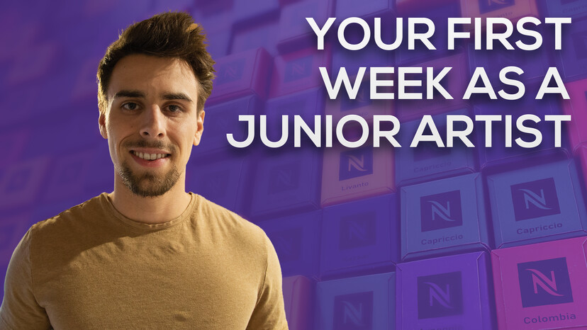 """A header that reads """"YOUR FIRST WEEK AS A JUNIOR ARTIST"""" with a picture of Patrick"""