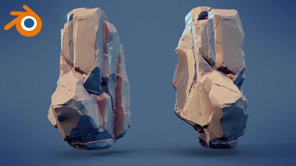 The Blender logo beside two sculpted rocks