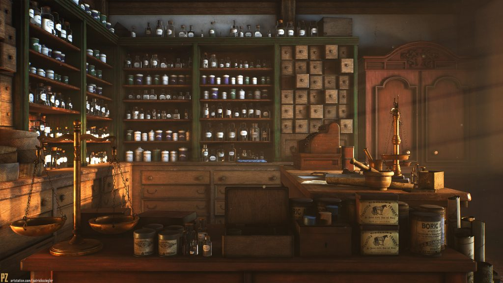 A vintage convenience store is bathed in amber light