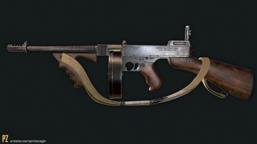 The profile of an old machine gun on a black background