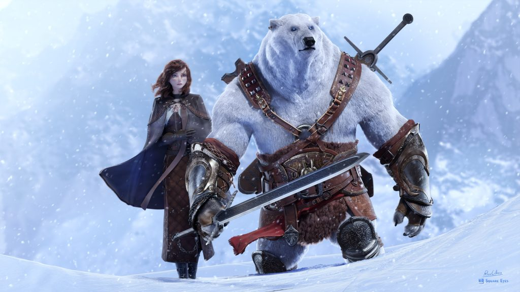 A woman in a blue cloak stands beside a anthropomorphic polar bear holding a sword