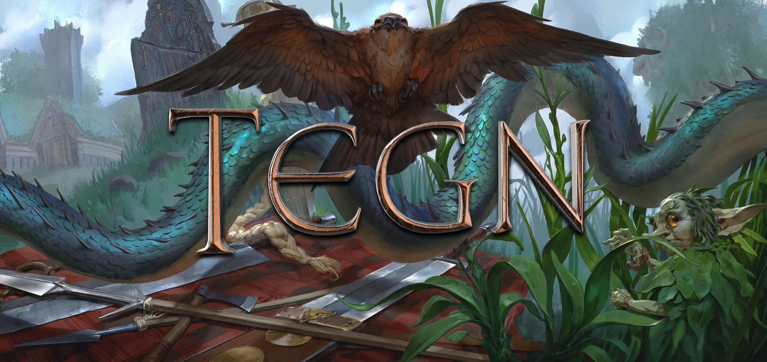 """A banner with an eagle, serpent, and gnome-like creature that says """"TEGN"""""""