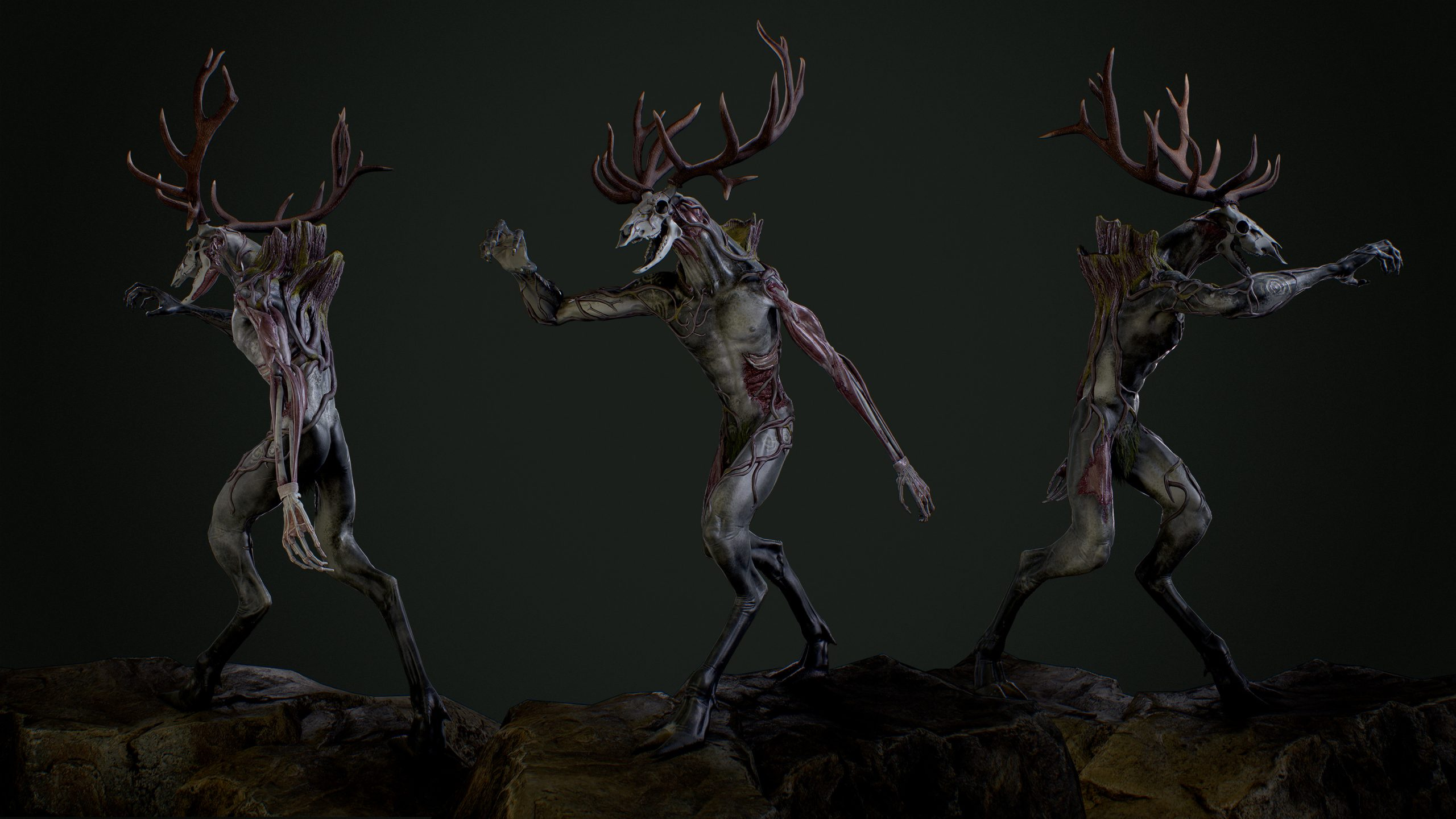 three body shots of a humanoid woodland creature on two legs with a deer skull head