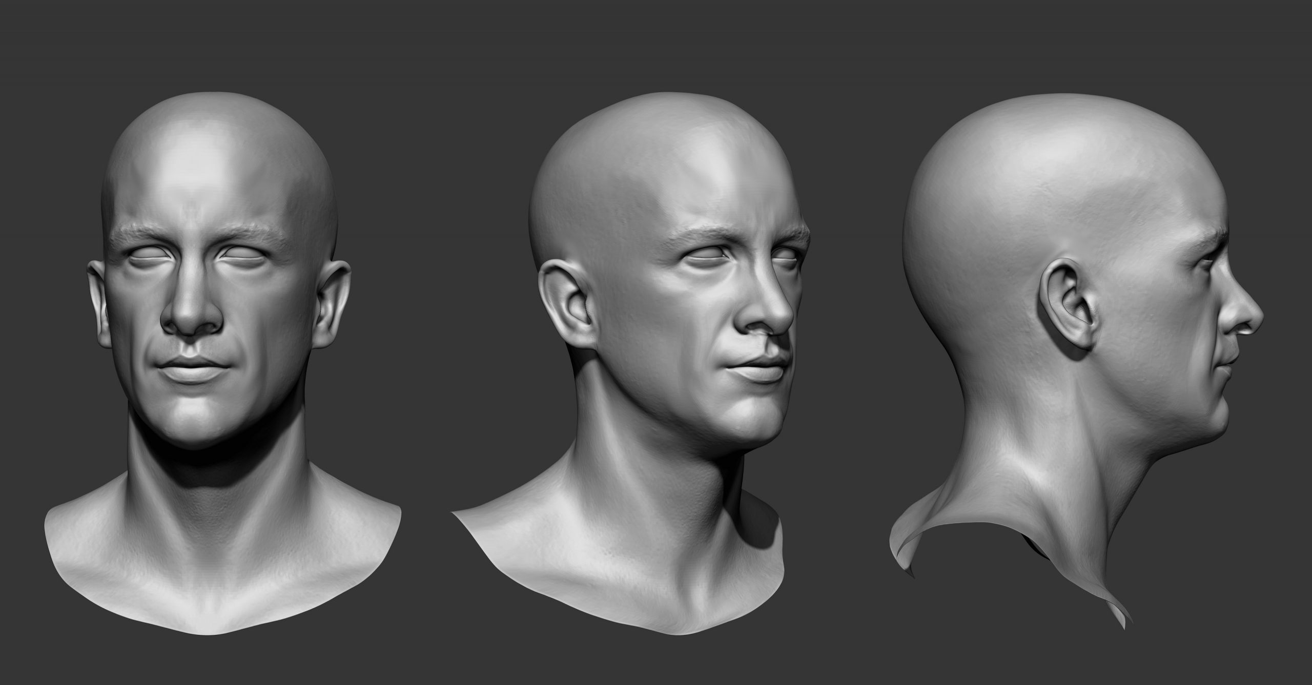 Three different photos of a sculpted head