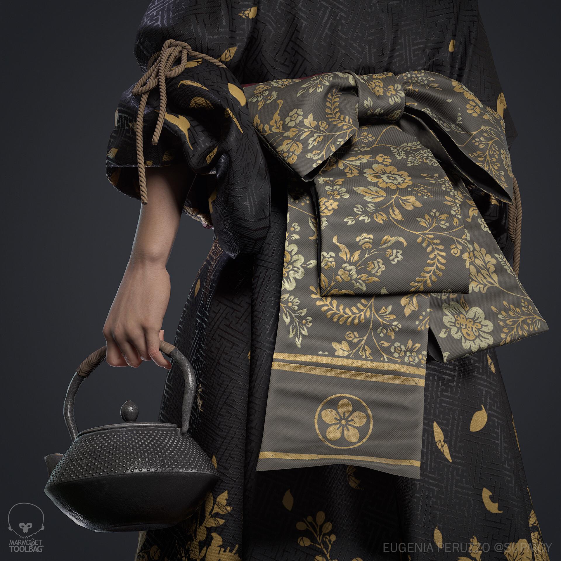 Close-up shot of the geisha's back sash