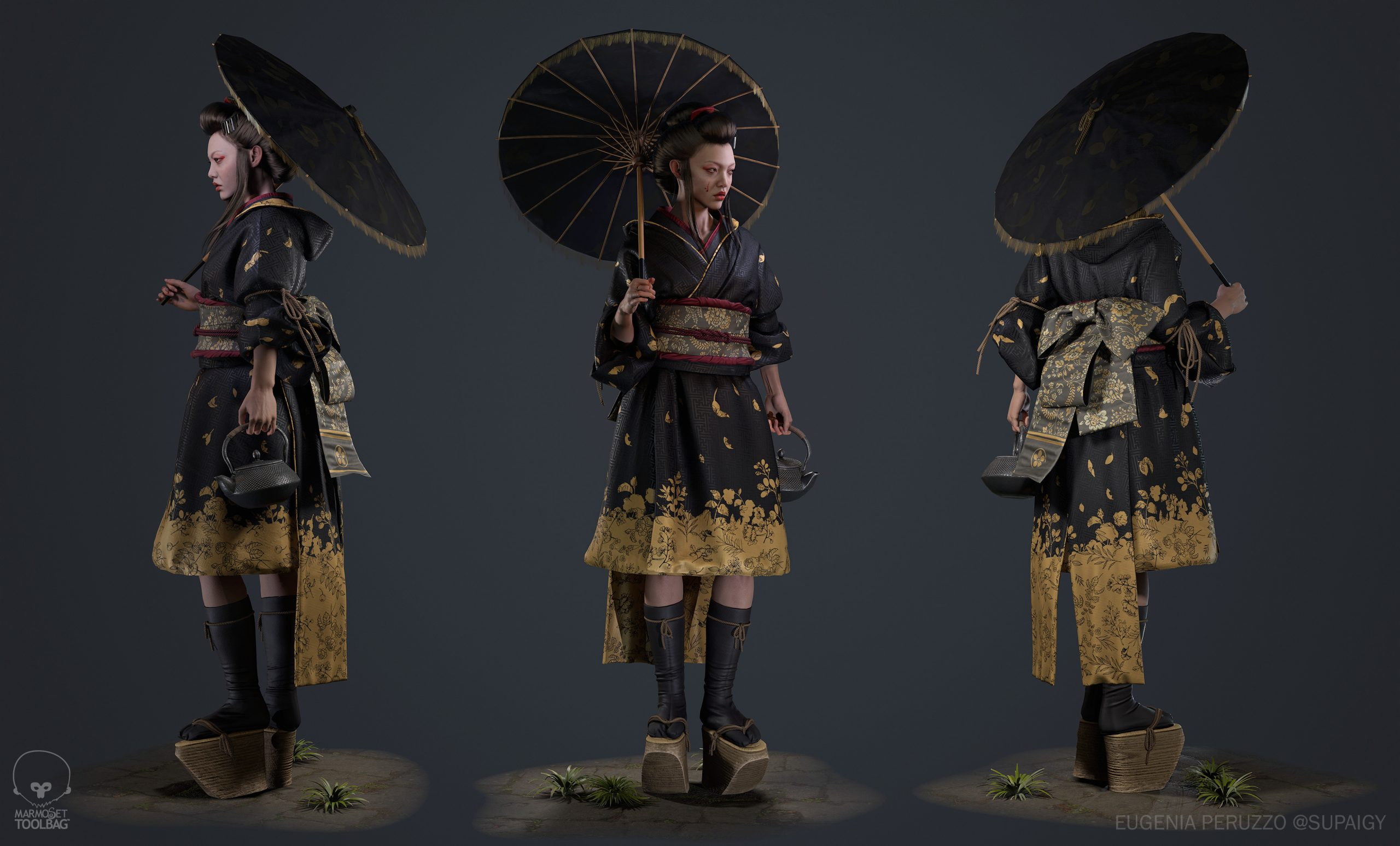 Three different full-body angles of a geisha outfit by Eugenia