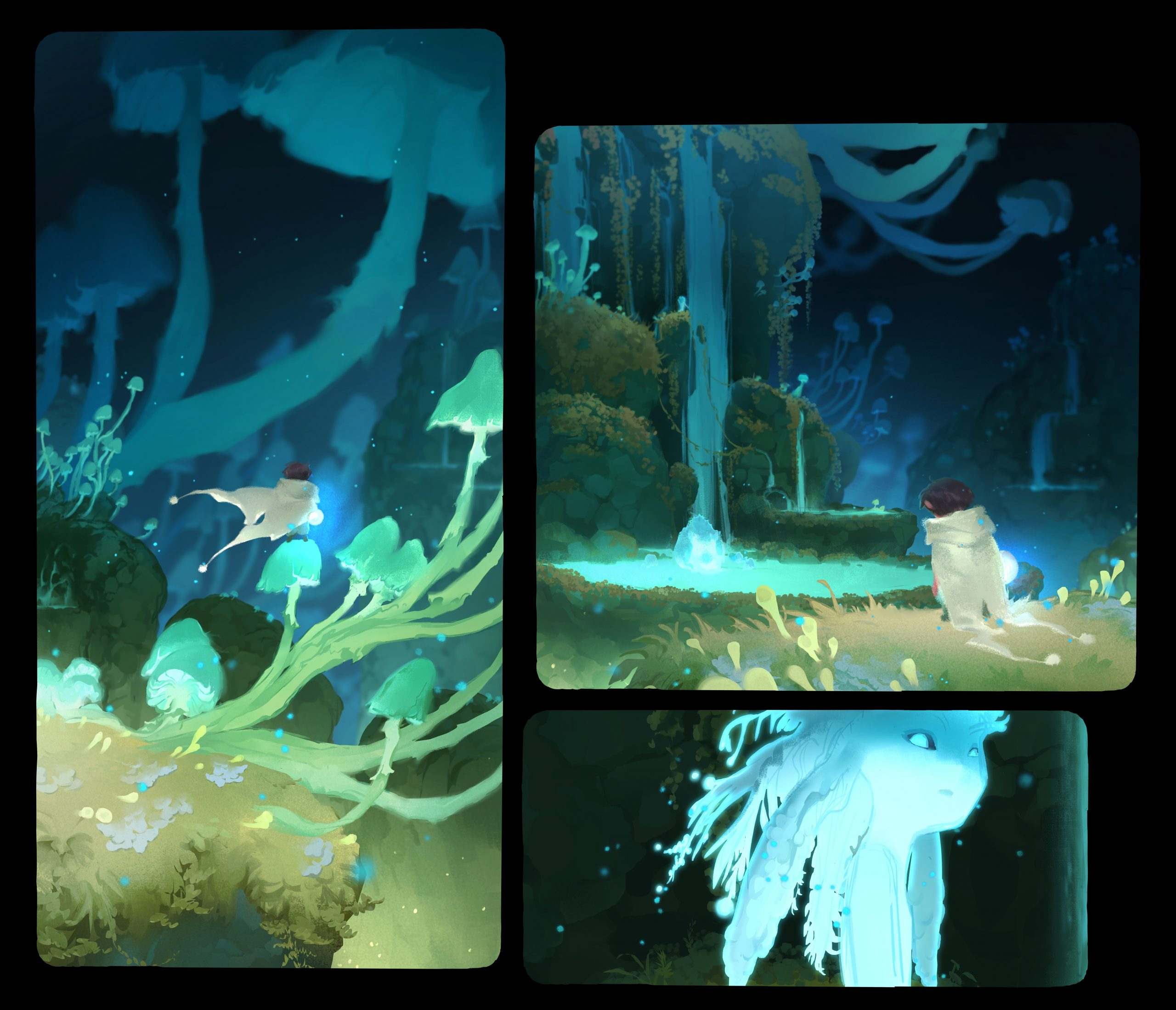 Three panels from Iris's painting, showing a young boy approach a pond spirit type creature