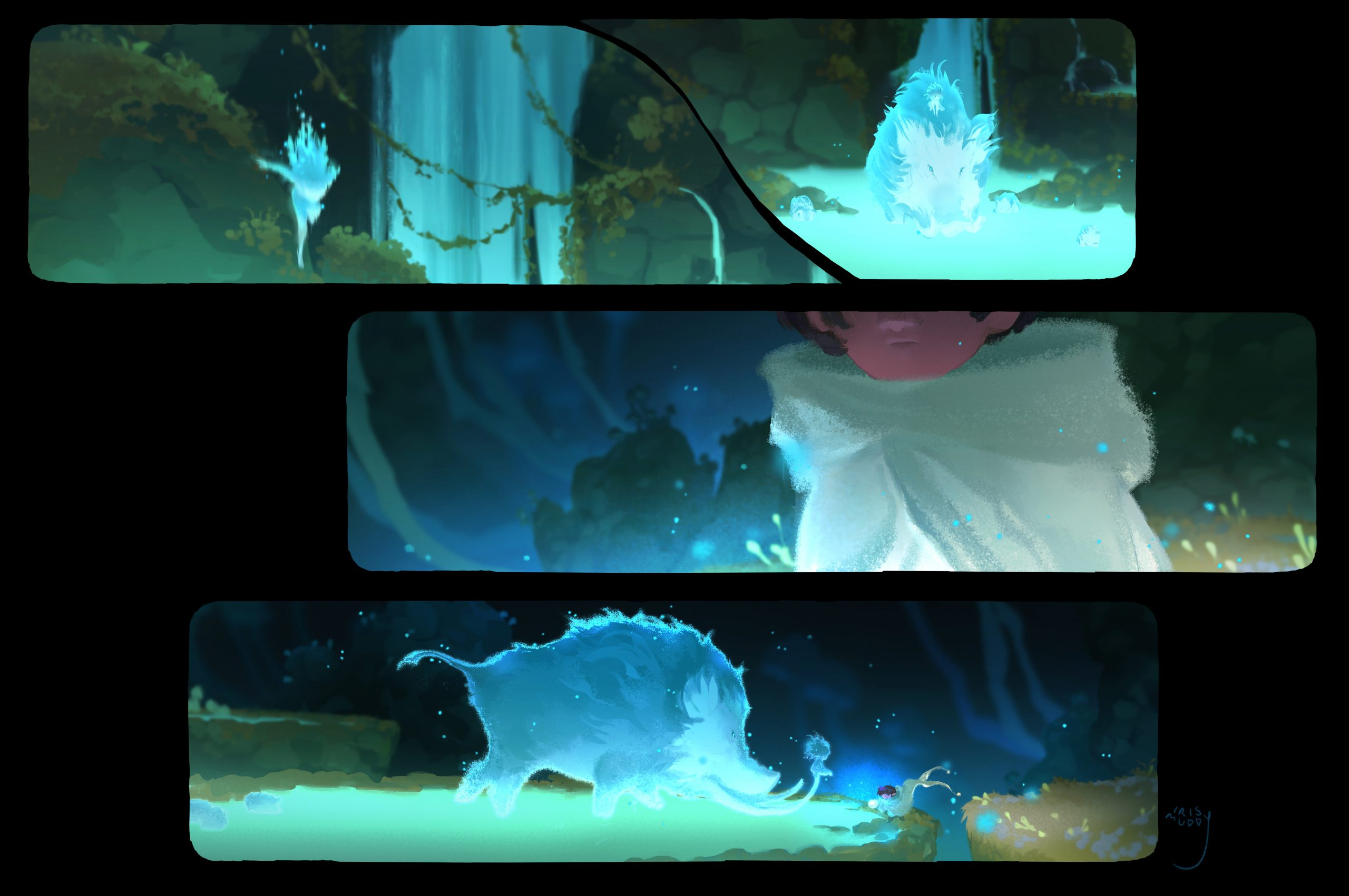 Three panels from Iris's painting, showing a blue light creature approach a glowing forest boar and then young boy