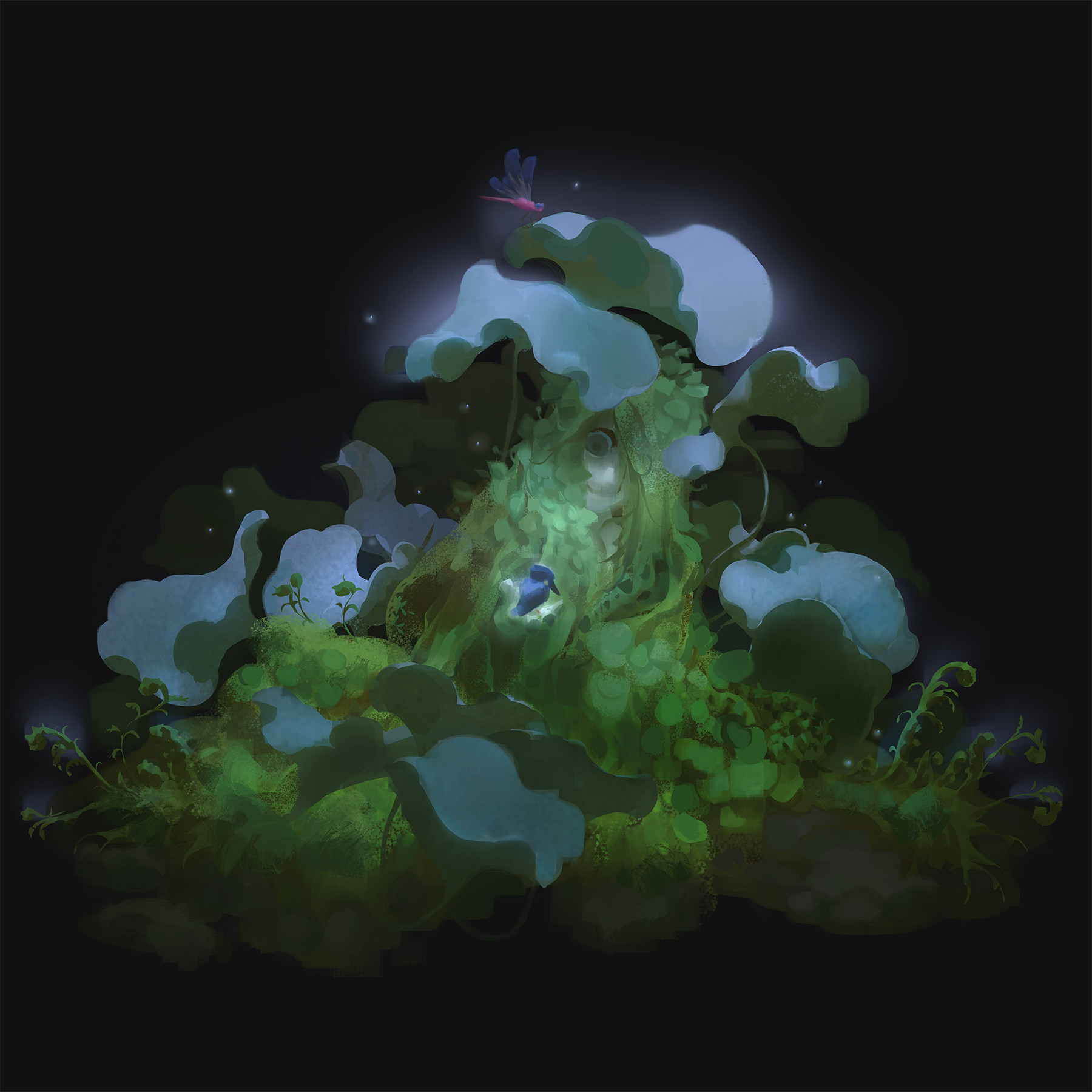 A mossy forest creature looks at a blue bird