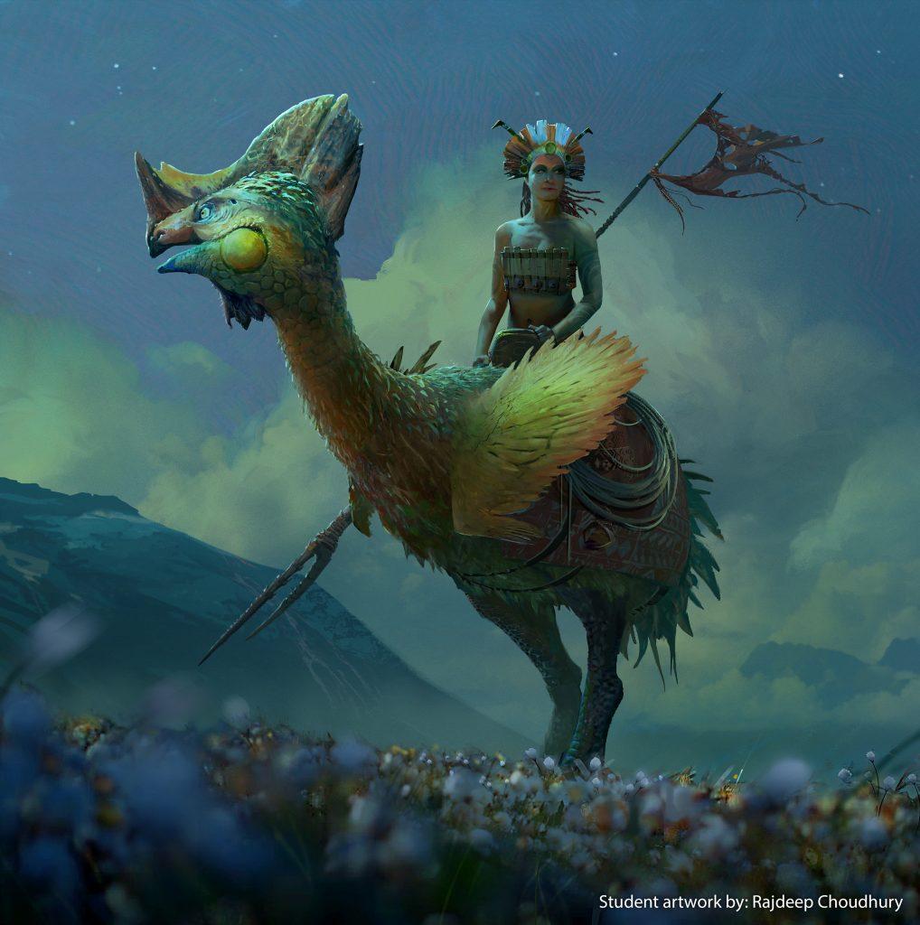 Sci fi artwork of a woman riding a bird-like creature