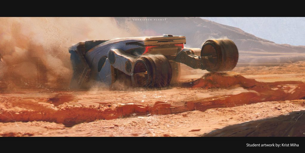 A space rover drives on red dirt kicking up dust