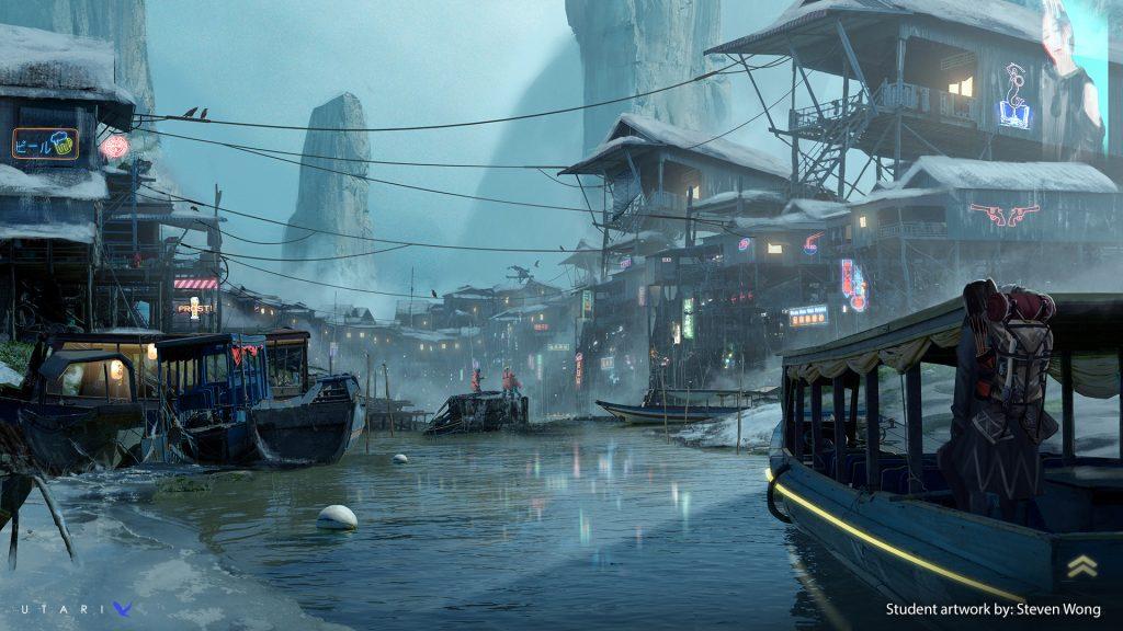 A frozen fishing village