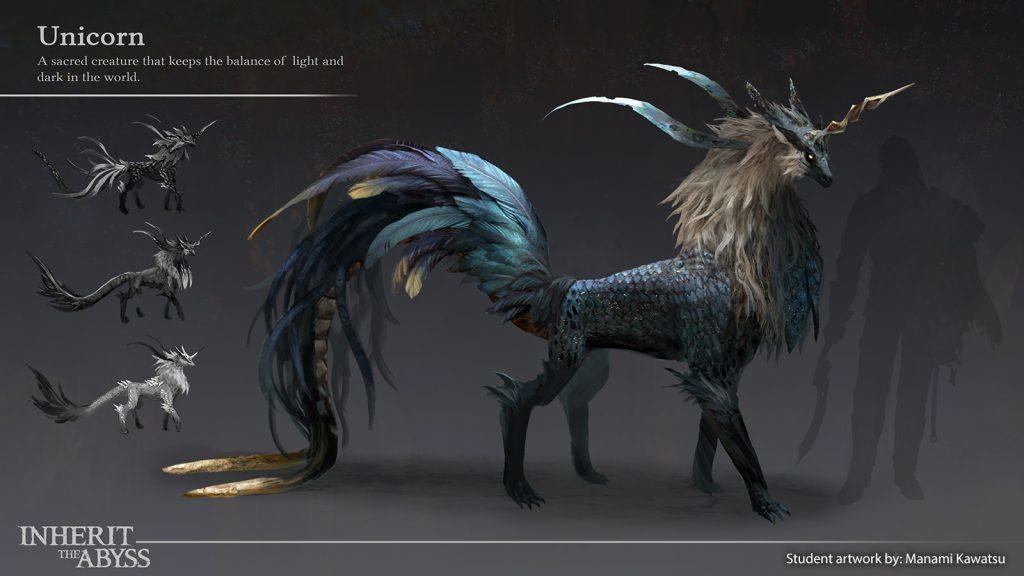 A feathered unicorn creature