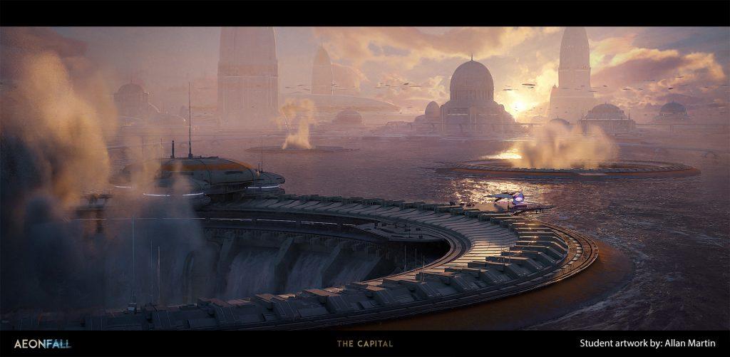 Long shot of a sci fi water world