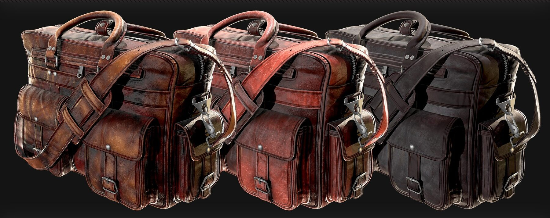 Three 3D renders of leather bags